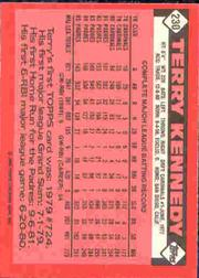 1986 Topps Tiffany #230 Terry Kennedy back image