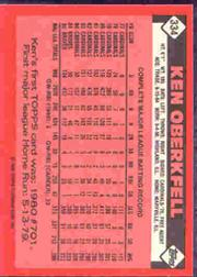 1986 Topps Tiffany #334 Ken Oberkfell back image