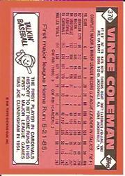 1986 Topps Tiffany #370 Vince Coleman back image