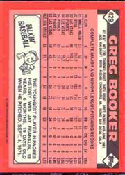 1986 Topps Tiffany #429 Greg Booker back image