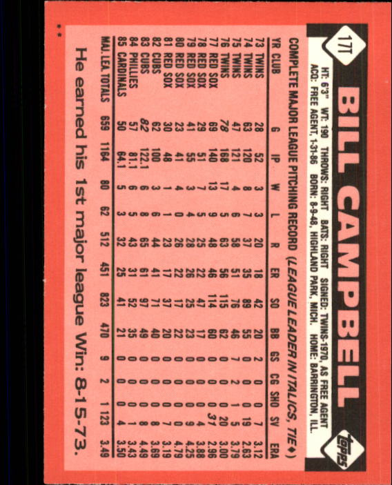 1986 Topps Traded #17T Bill Campbell back image