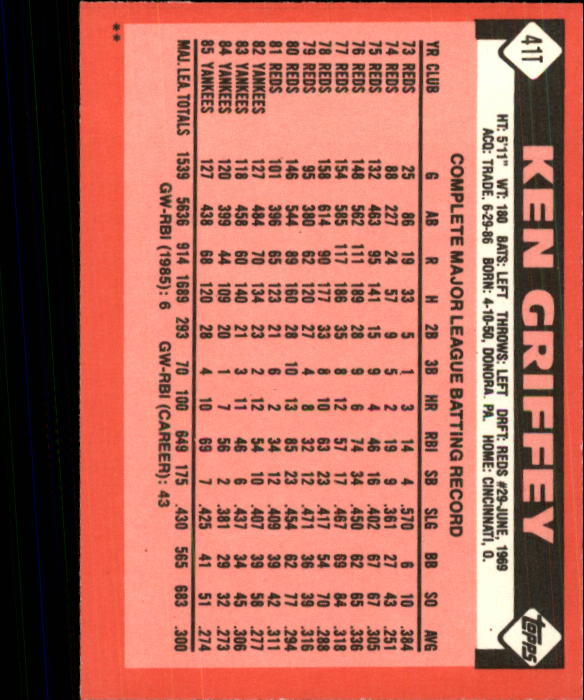 1986 Topps Traded #41T Ken Griffey back image