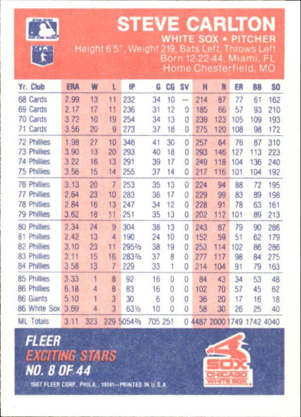 1987 Fleer Exciting Stars #8 Steve Carlton back image