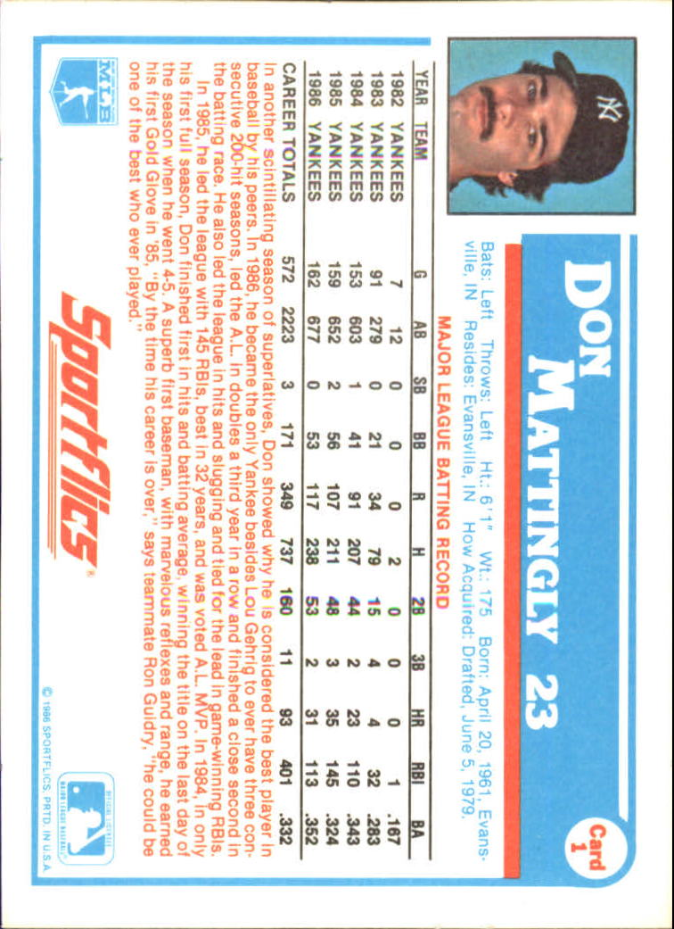 1987 Sportflics #1 Don Mattingly back image