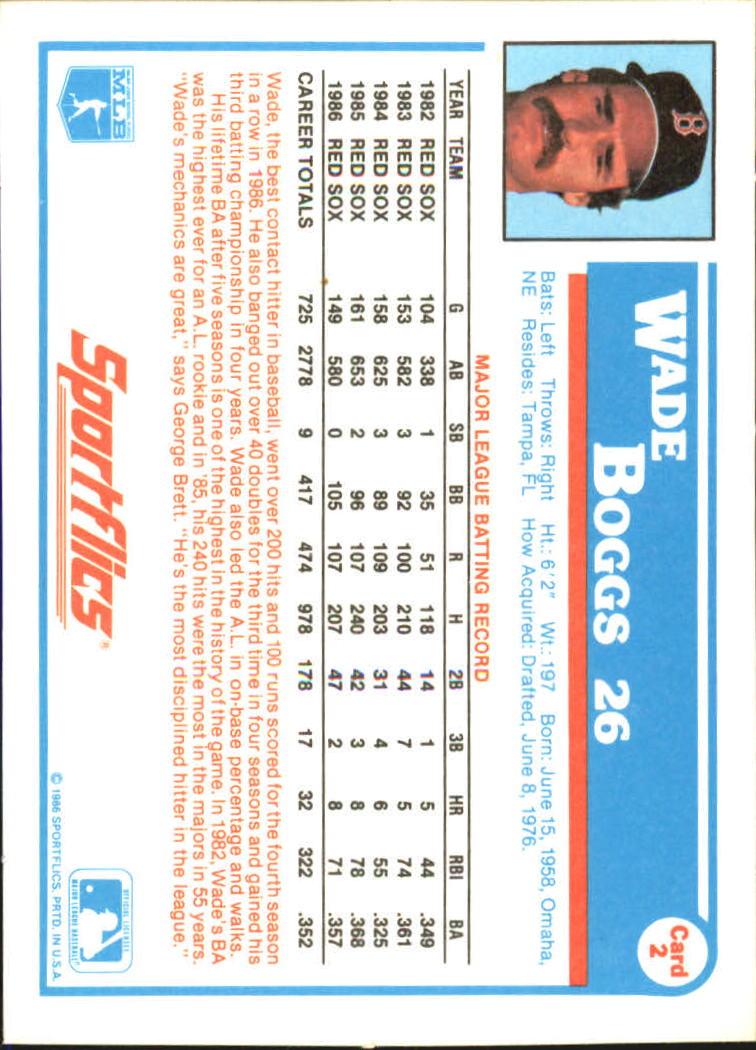 1987 Sportflics #2 Wade Boggs back image