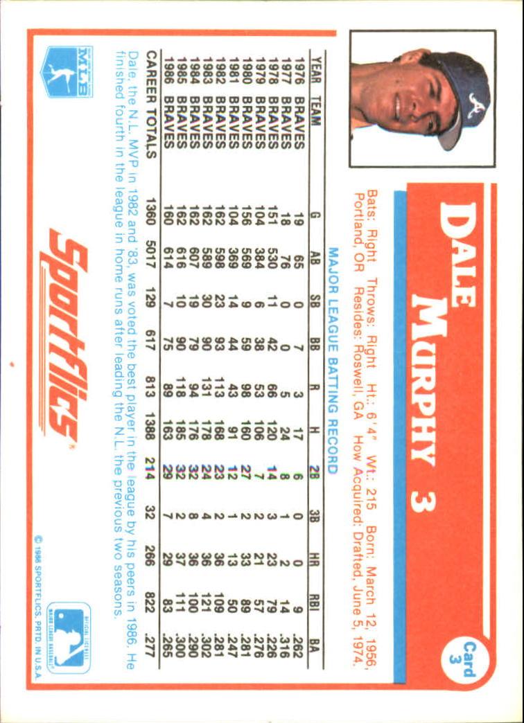 1987 Sportflics #3 Dale Murphy back image