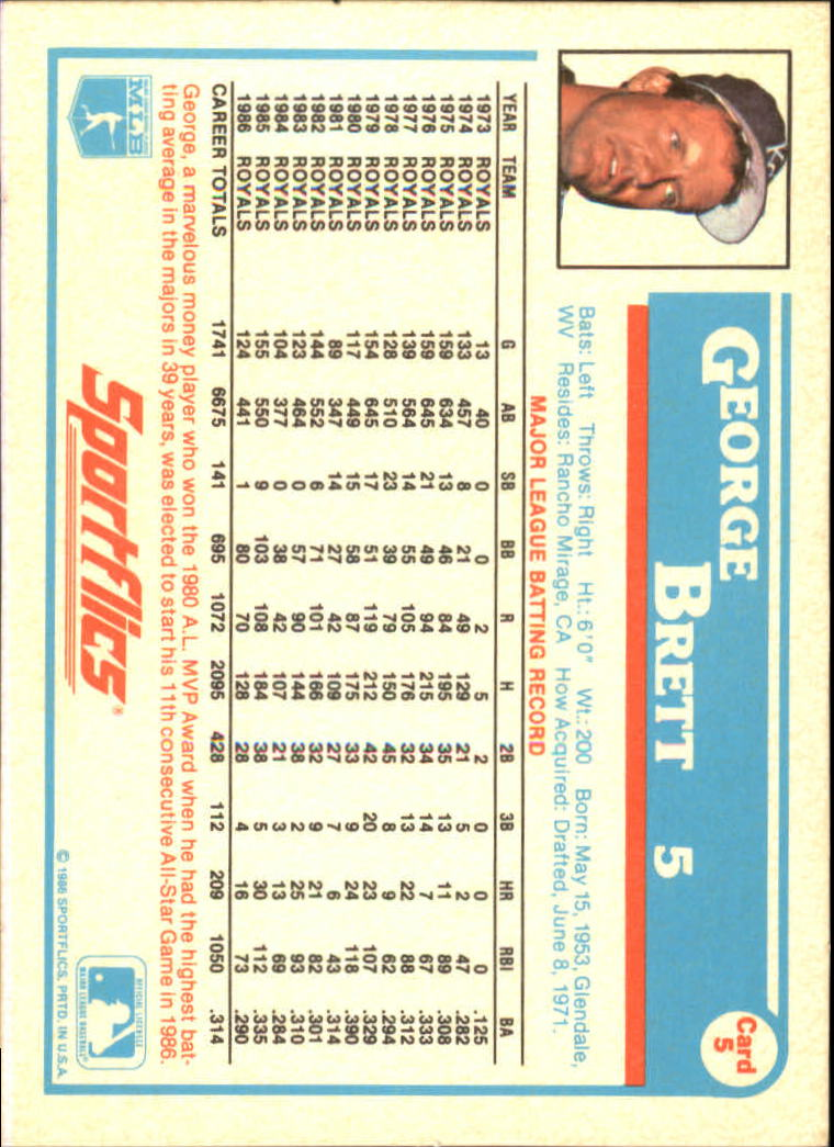 1987 Sportflics #5 George Brett back image