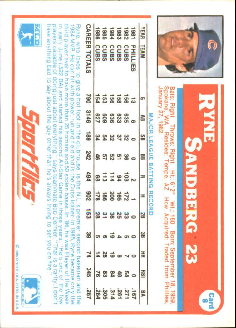 1987 Sportflics #8 Ryne Sandberg back image