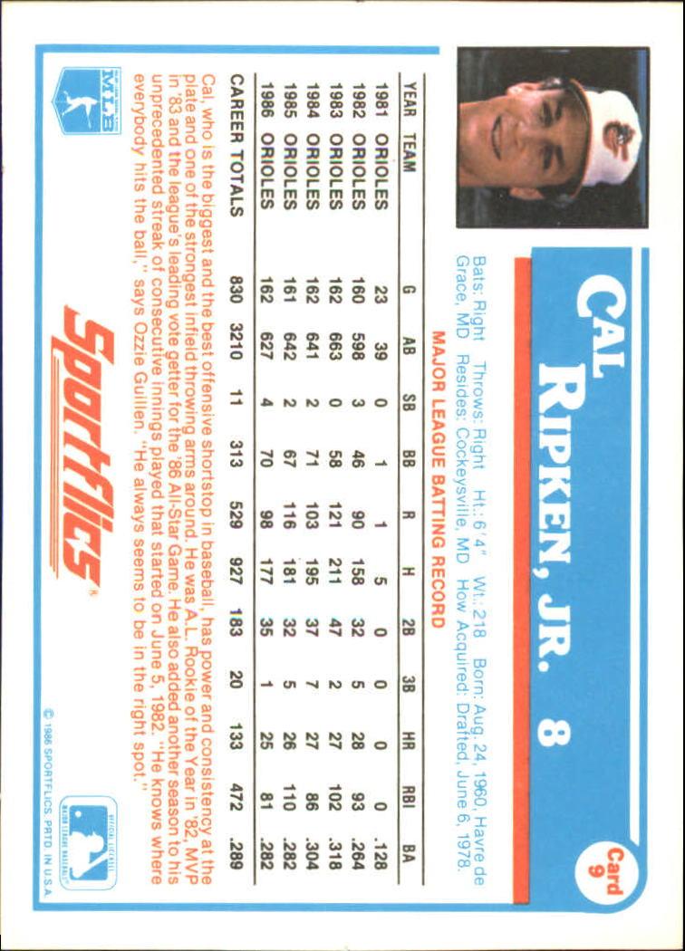 1987 Sportflics #9 Cal Ripken back image