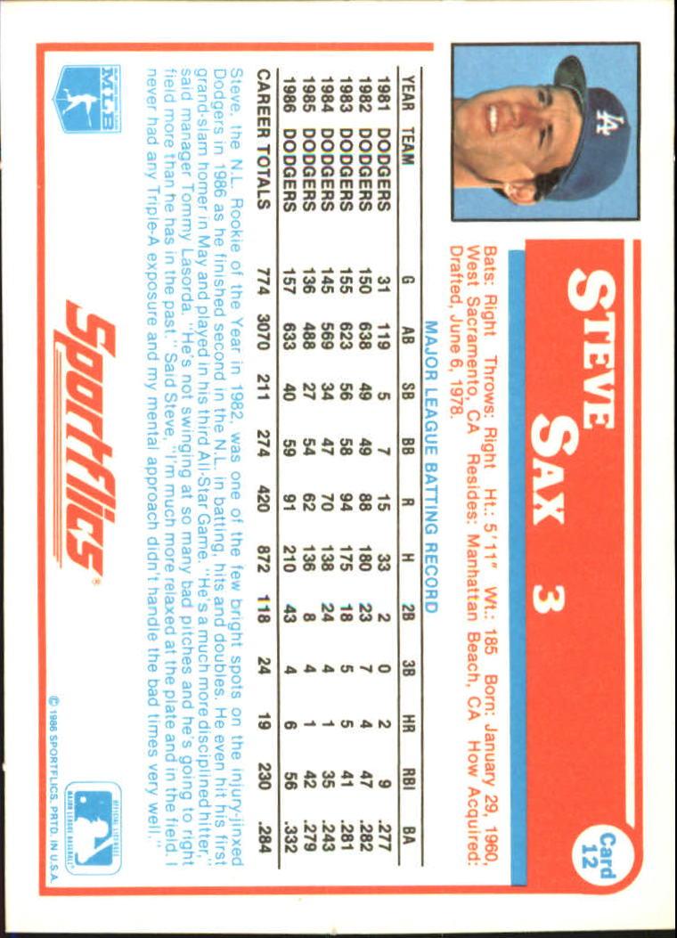 1987 Sportflics #12 Steve Sax back image