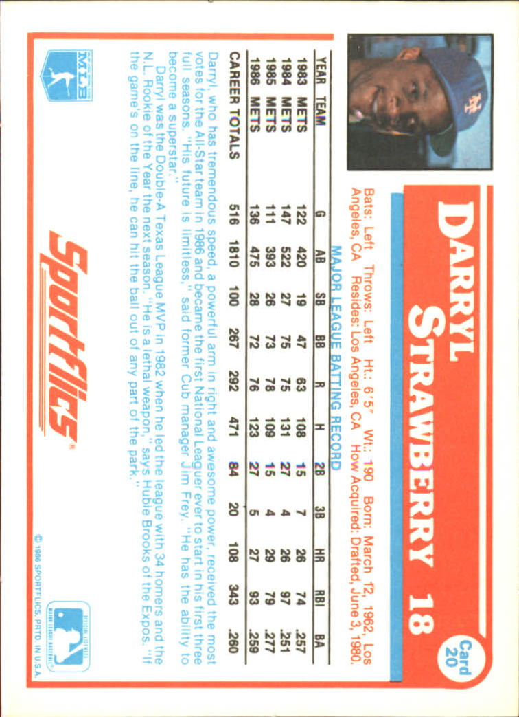 1987 Sportflics #20 Darryl Strawberry back image