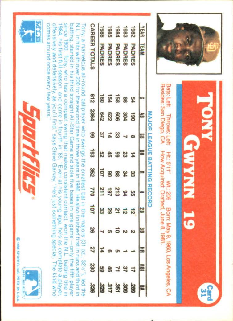 1987 Sportflics #31 Tony Gwynn back image