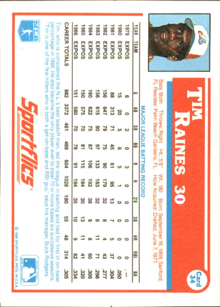 1987 Sportflics #34 Tim Raines back image