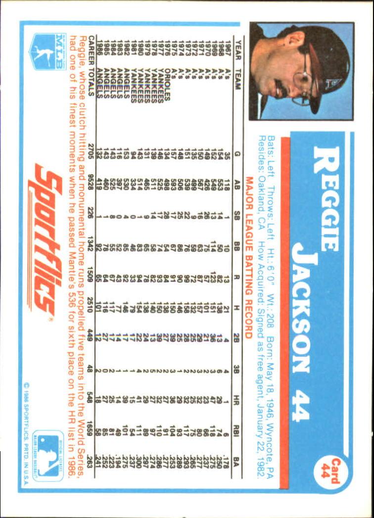 1987 Sportflics #44 Reggie Jackson back image
