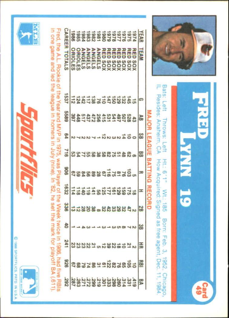 1987 Sportflics #49 Fred Lynn back image