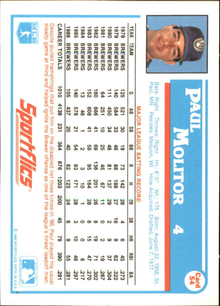 1987 Sportflics #54 Paul Molitor back image