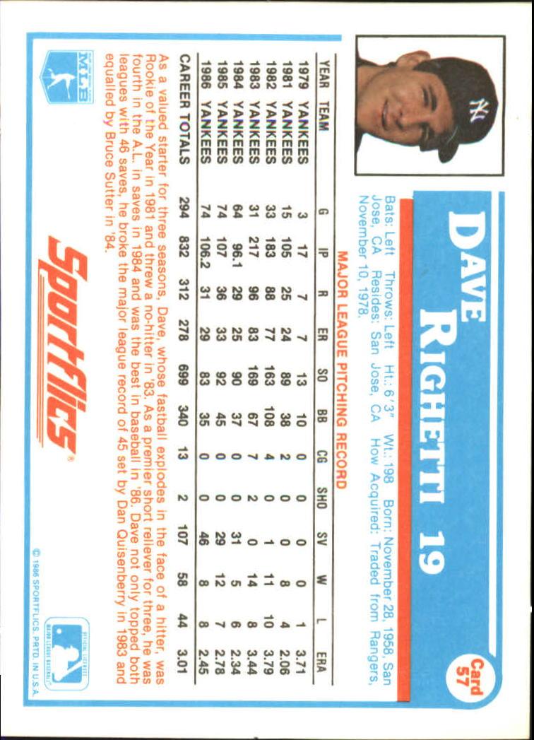 1987 Sportflics #57 Dave Righetti back image