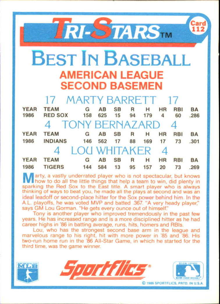 1987 Sportflics #112 Tri-Stars Lou Whitaker back image