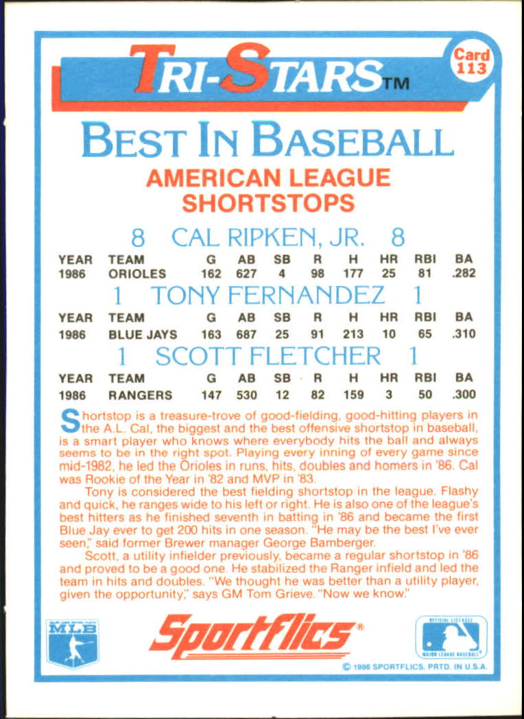 1987 Sportflics #113 Tri-Stars Cal Ripken back image