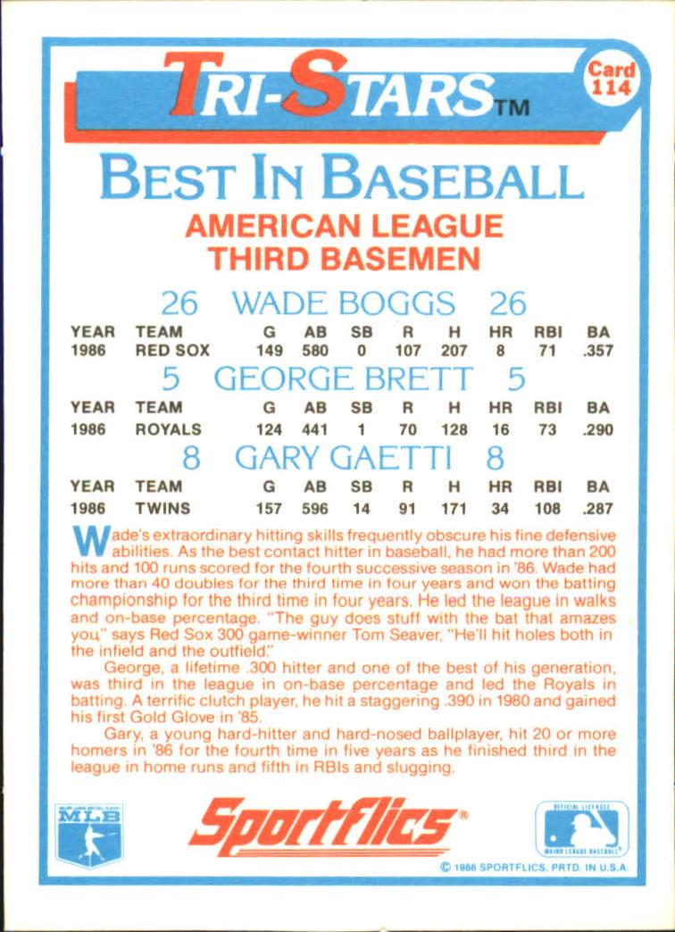 1987 Sportflics #114 Tri-Stars Boggs/Brett back image