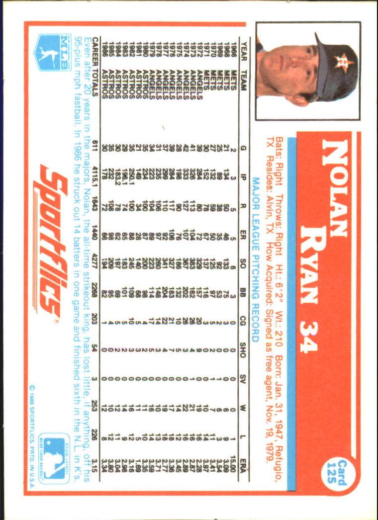 1987 Sportflics #125 Nolan Ryan back image