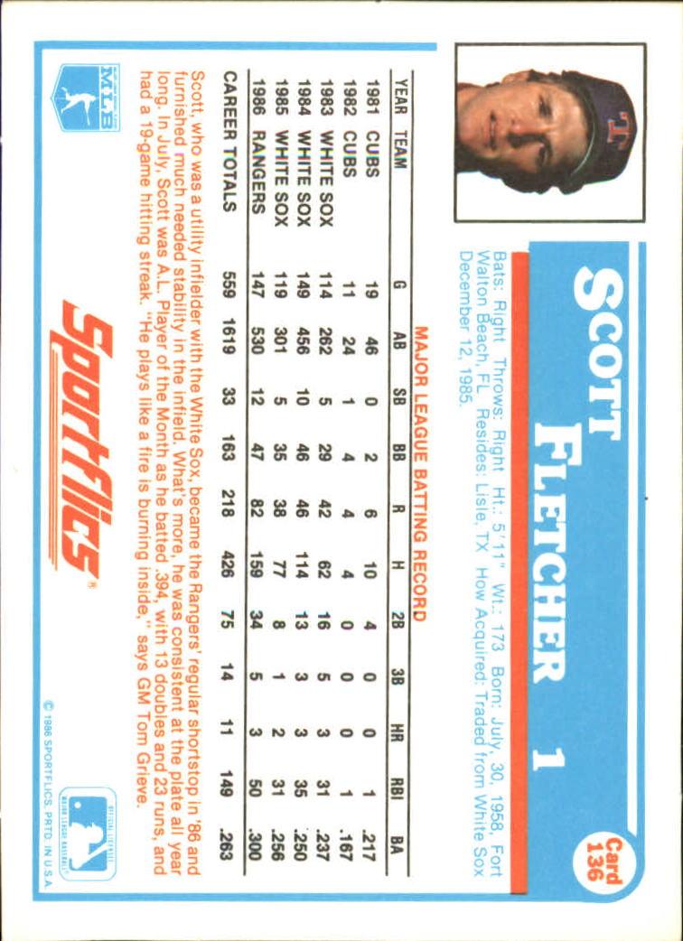 1987 Sportflics #136 Scott Fletcher back image