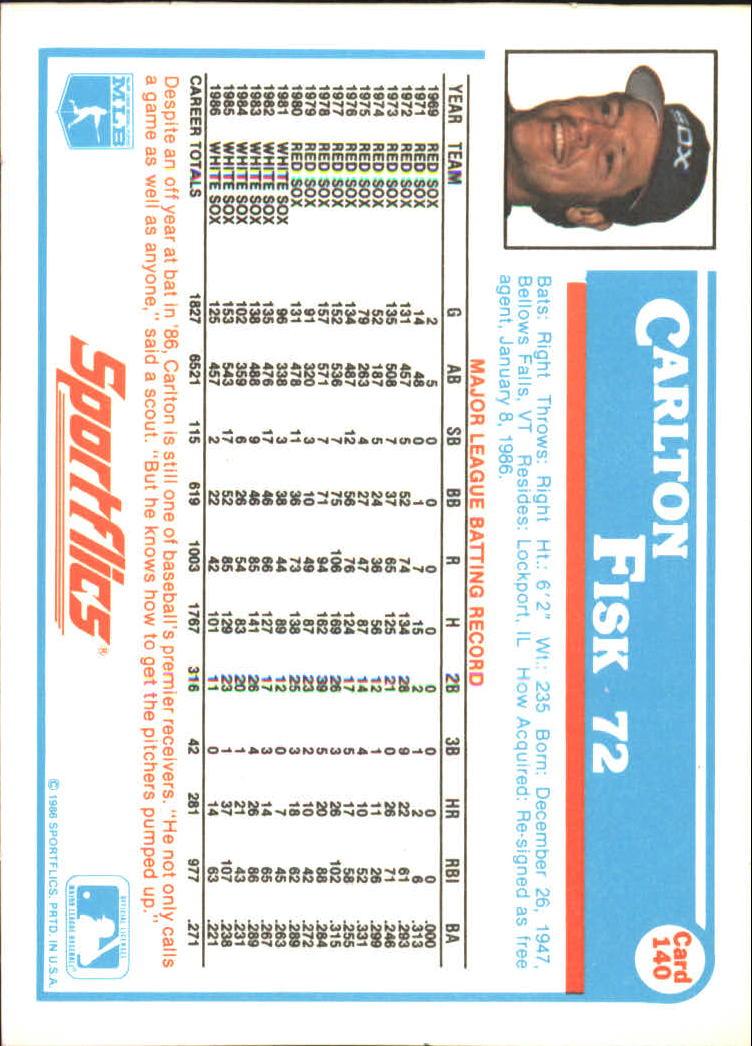 1987 Sportflics #140 Carlton Fisk back image
