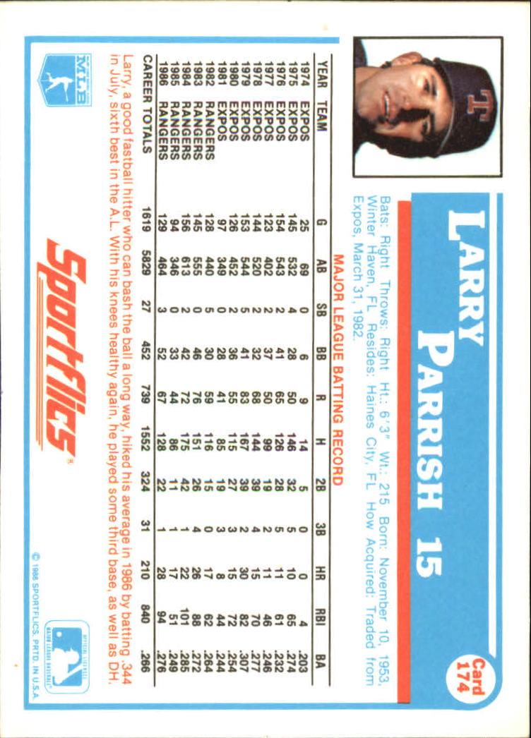 1987 Sportflics #174 Larry Parrish back image