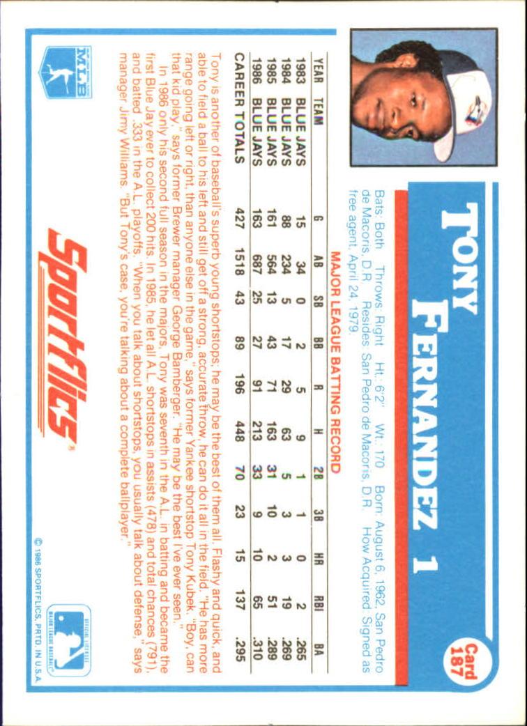 1987 Sportflics #187 Tony Fernandez back image