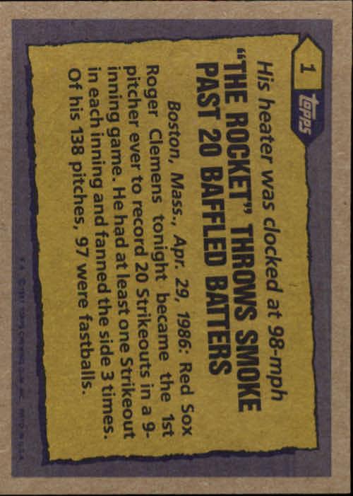 1987 Topps #1 Roger Clemens RB back image