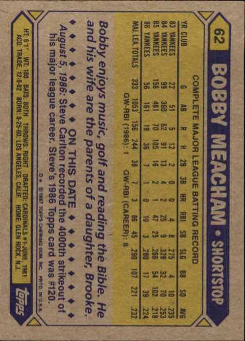 1987 Topps #62 Bobby Meacham back image