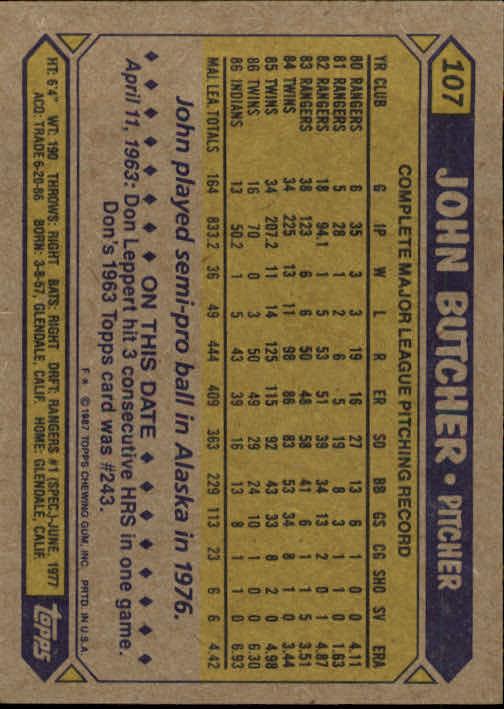 1987 Topps #107 John Butcher back image
