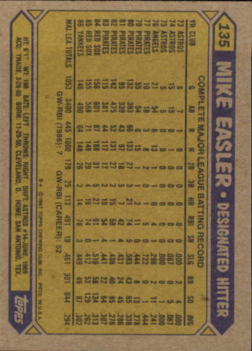 1987 Topps #135 Mike Easler back image