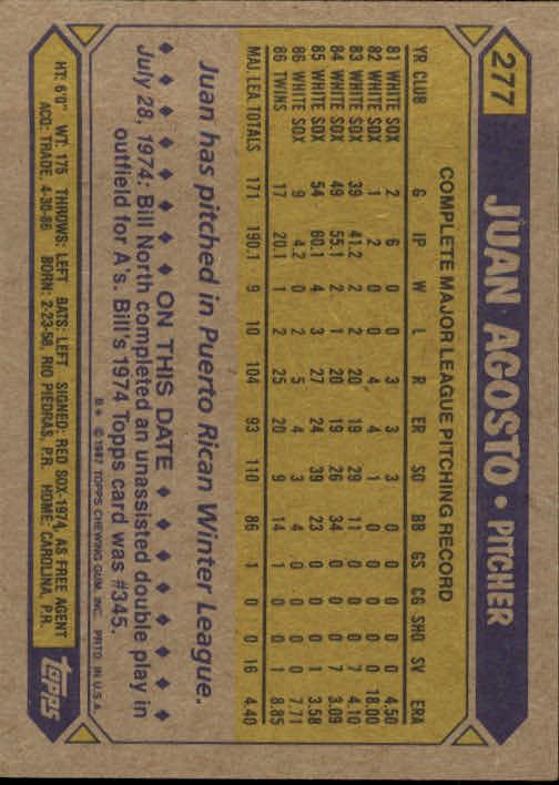1987 Topps #277 Juan Agosto back image