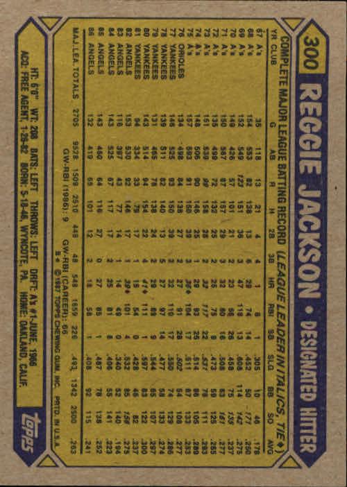 1987 Topps #300 Reggie Jackson back image
