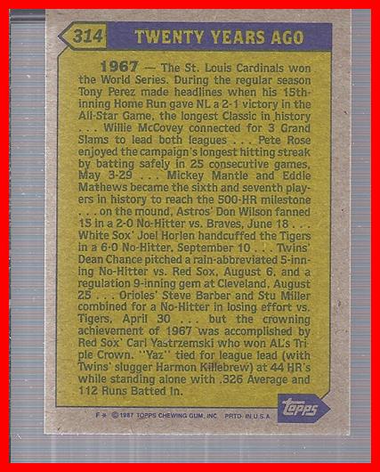 1987 Topps #314 Carl Yastrzemski TBC back image
