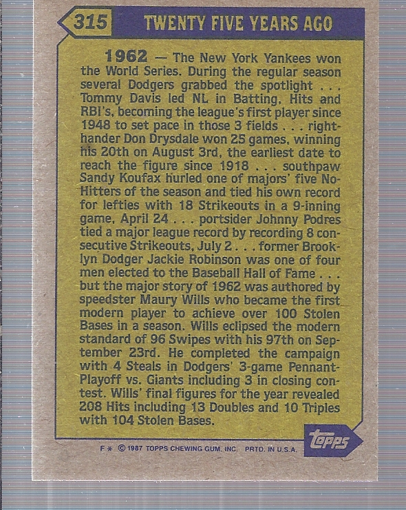 1987 Topps #315 Maury Wills TBC '62 back image