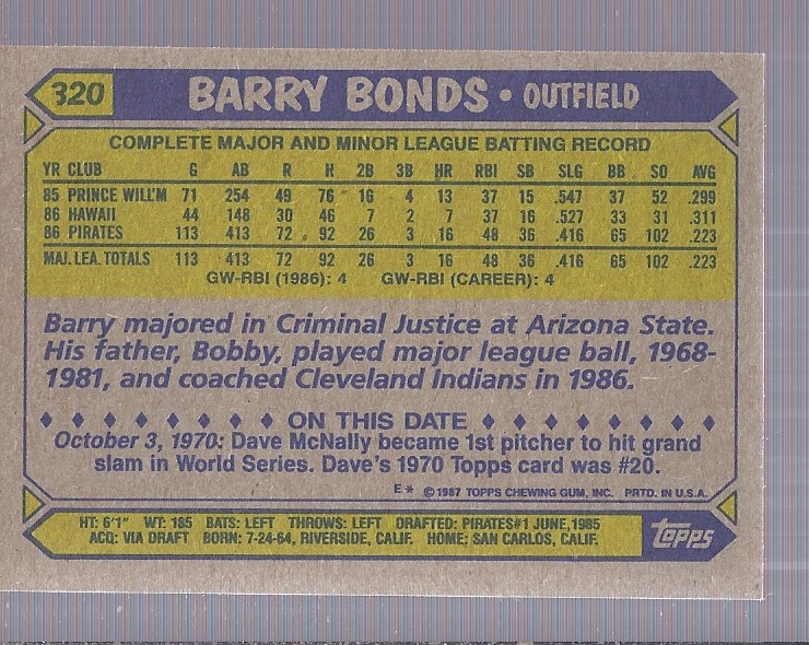 1987 Topps #320 Barry Bonds RC back image