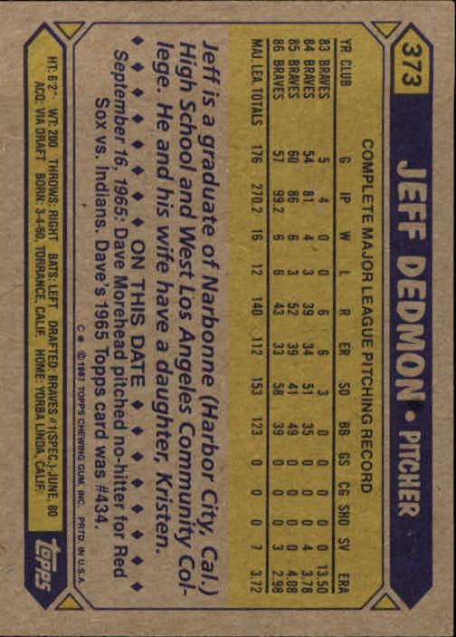 1987 Topps #373 Jeff Dedmon back image