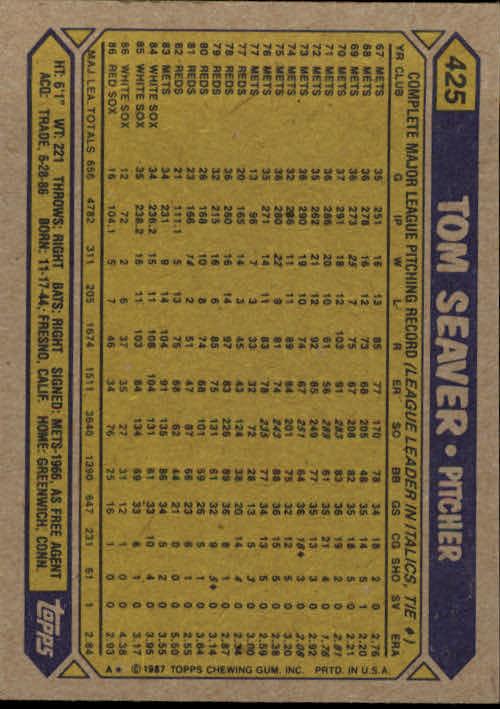 1987 Topps #425 Tom Seaver back image