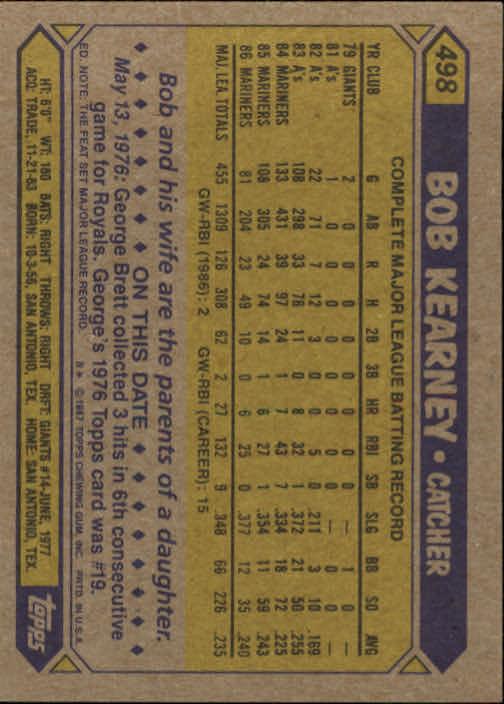 1987 Topps #498 Bob Kearney back image