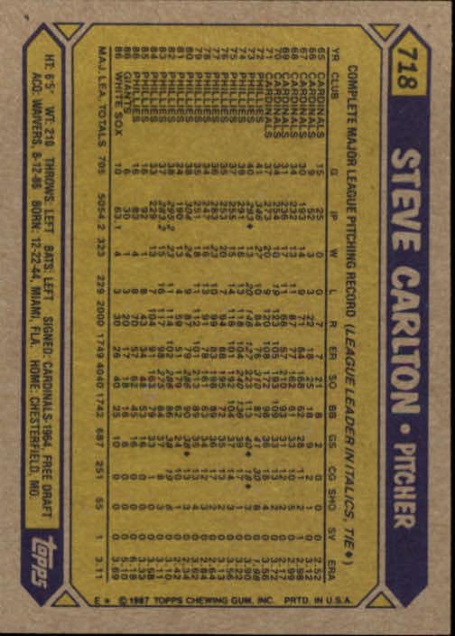1987 Topps #718 Steve Carlton back image