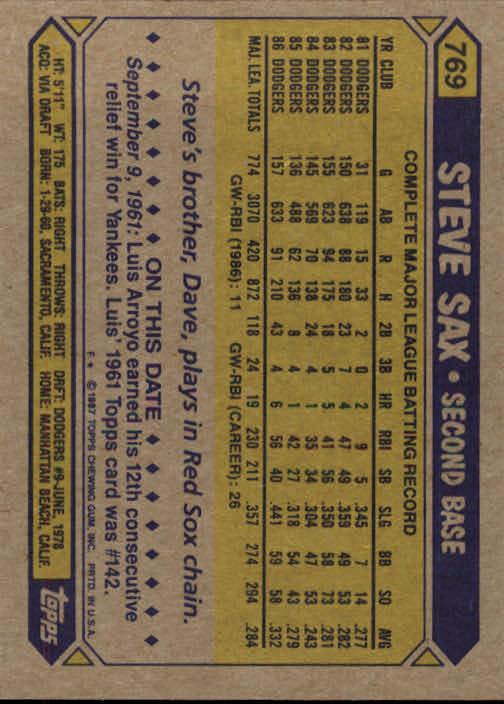 1987 Topps #769 Steve Sax back image