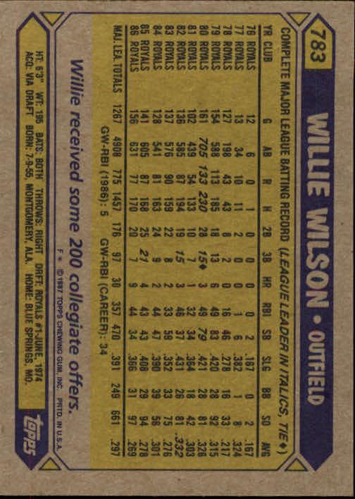 1987 Topps #783 Willie Wilson back image