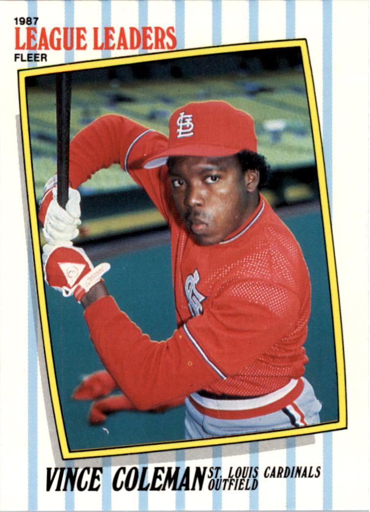1987 Fleer League Leaders #11 Vince Coleman