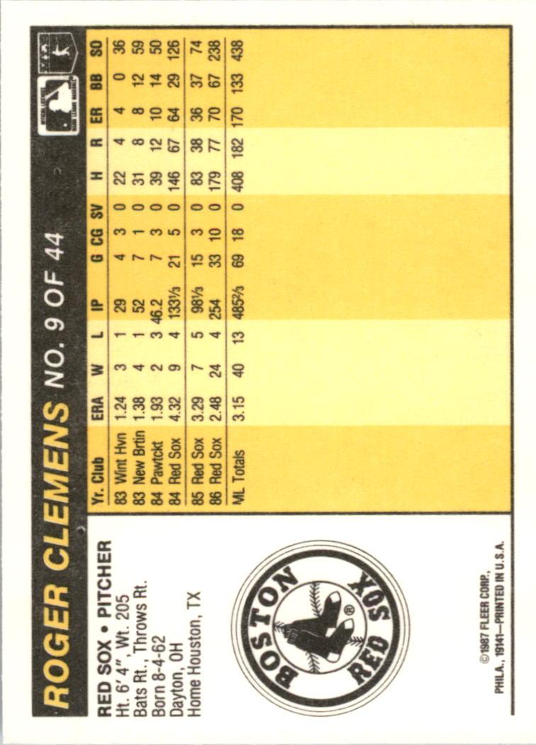 1987 Fleer Award Winners #9 Roger Clemens back image