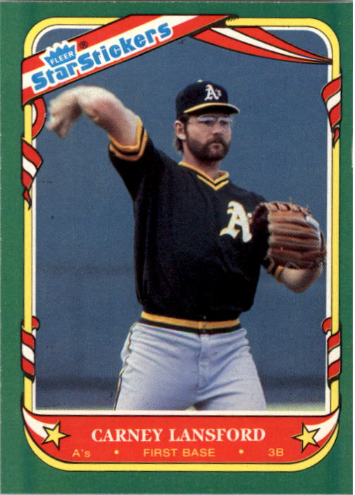 1987 Fleer Star Stickers #71 Carney Lansford