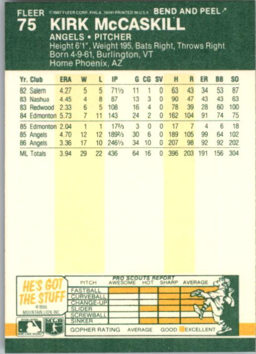 1987 Fleer Star Stickers #75 Kirk McCaskill back image