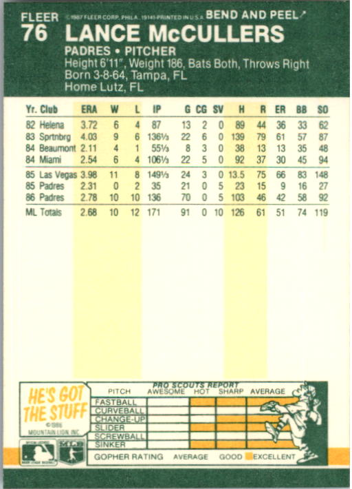 1987 Fleer Star Stickers #76 Lance McCullers back image