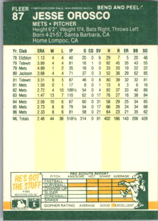1987 Fleer Star Stickers #87 Jesse Orosco back image